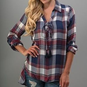 Red Blue Plaid Quarter Sleeve Front Tie Top